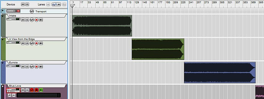 The tracks laid out in series within the Sequencer