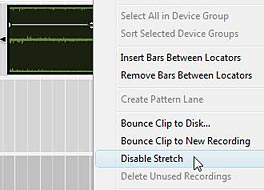 Disabling Stretch by right-clicking on the audio clip in the Sequencer