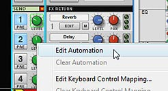 "Selecting ""Edit Automation"" for all parameters which were automated in the Reason Mixer"