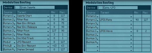The modulation for the NN19 Sampler (Left) and the Subtractor (Right)