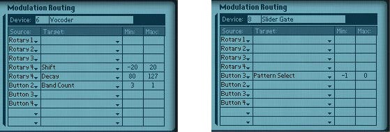 The Combi's mod programming for the Vocoder (left) and Matrix (right)
