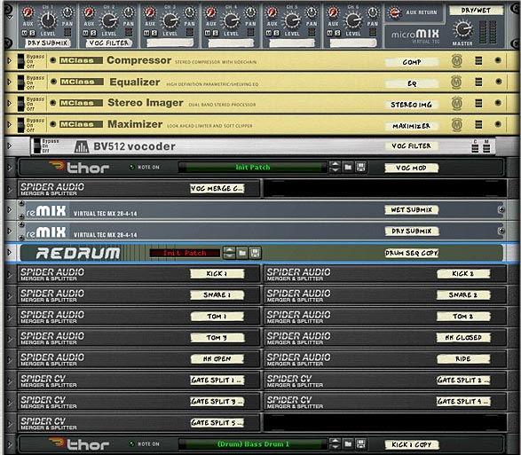 Rack devices in the Combinator above the main synth drums