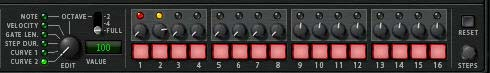 The Thor Step Sequencer with the Curve 2 settings