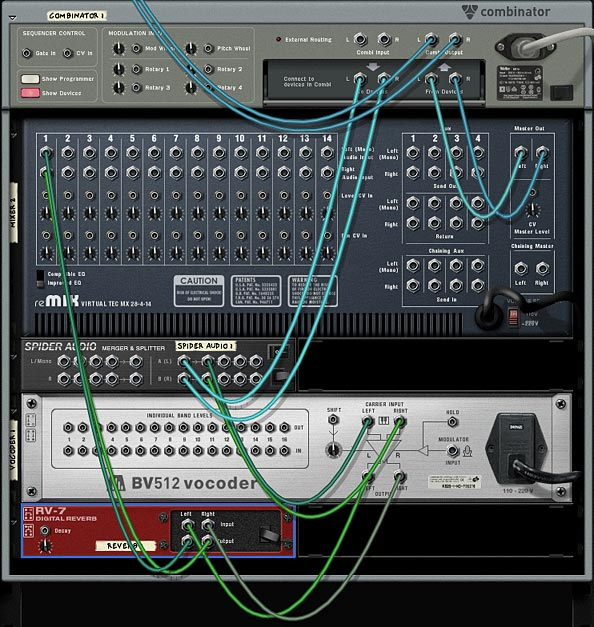This image shows a single instance of the Vocoder and Delay hooked up to a Channel in the 14:2 Mixer.