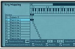 The first Synth selected in Key Mapping. See that the range listed is C1 (Lo) to C1 (Hi)
