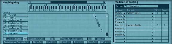 Entering the Matrix Sequencer Parameters in the Combi's Modulation Routing Section.