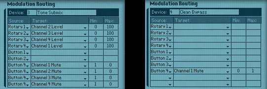 Combinator Modulation routing for the two Mixers