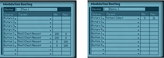 The Modulation Bus of the Combinator: Thor settings on the left and the Matrix settings on the right.