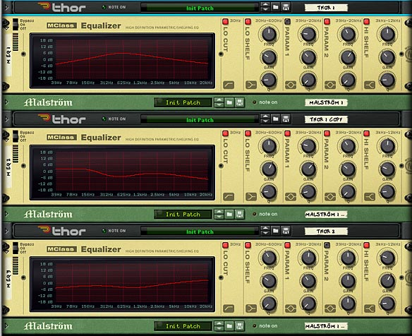 The front of the Combinator, showing all 3 EQ devices to spread out the Oscillator sounds across Low, Mids, and Highs.