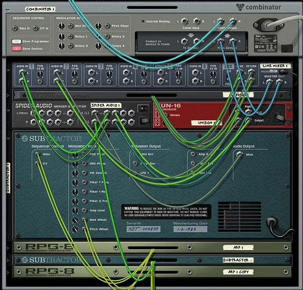 The Subtractor and RPG-8 routing at the back of the rack to set up your melodic synth lines.