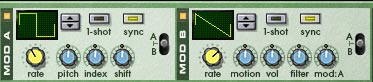The Malstrom Mod A and Mod B curves used to Modulate the Arpeggio