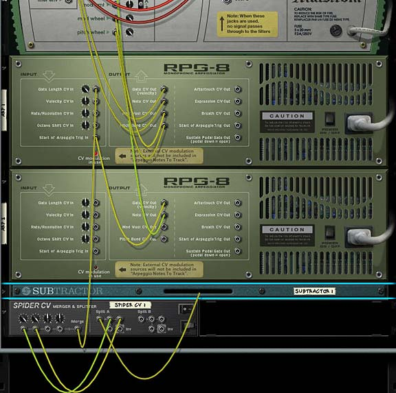 The main CV routings on the back of the rack. Note the Subtractor's LFO1 is going into the Spider A Splitter.