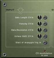 The 5 CV inputs on the back of the RPG-8 Monophonic Arpeggiator