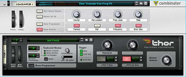 Thor Triple effect patch: Tremolo, Pan, and Frequency Modulations