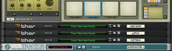 The front panel, showing the 3 Kong Pads setup to control your Pattern in the Thor Step Sequencer.