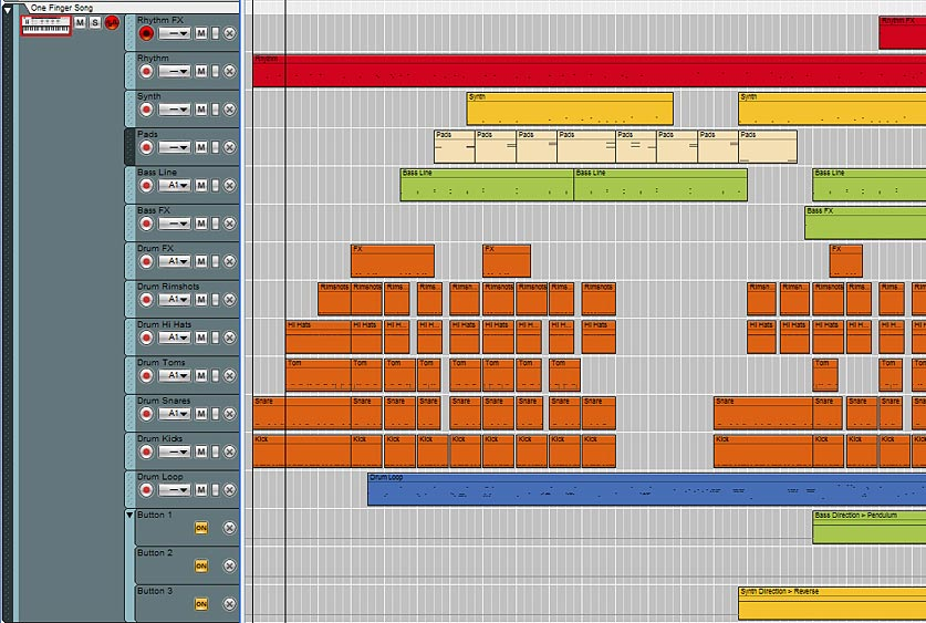 This image shows the various Note Lanes for the Combinator. Each note lane represents a different sound source, Kong drum pad, or Rex Loop Slot selection.