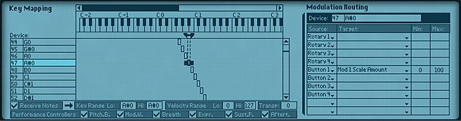 The Combinator Key Mapping and Modulation Routing section showing each key mapped to a Thor device.