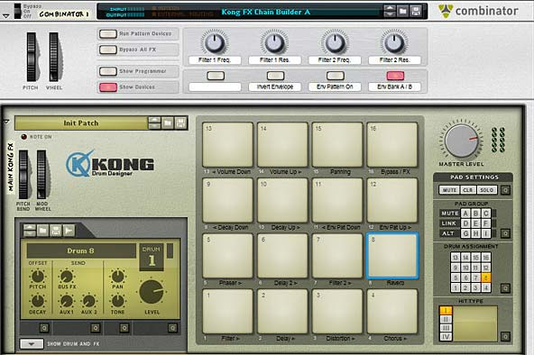 The main controls for the Kong FX Chain Builder (and Combinator Controls)