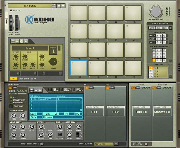 The front of the Kong device with the same sample copied into all drum modules and the pitch varied across all 16 pads.
