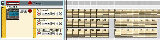 "A screenshot showing all the 7-note scales by ""Interval,"" ""In Modes,"" and ""In Modes - Transposed"""