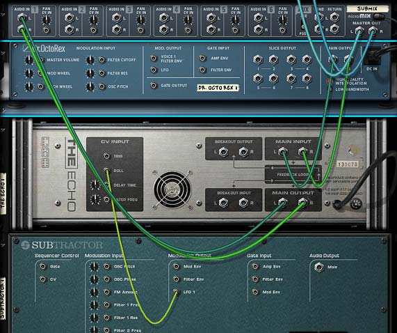 A Subtractor LFO connected to The Echo's Roll CV Input