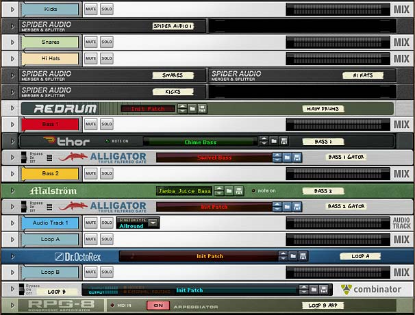 The front of the rack after adding the Drums, Bass, Audio Track (Pad), and some Dr. OctoRex Loop accents.