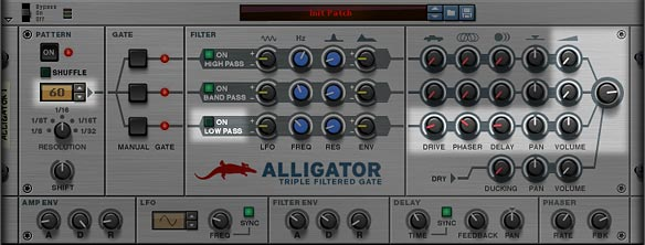 The Alligator Front Panel, showing the areas of importance when trying to use a single channel for effects and Mixer only; in this case, using the Low Pass Channel
