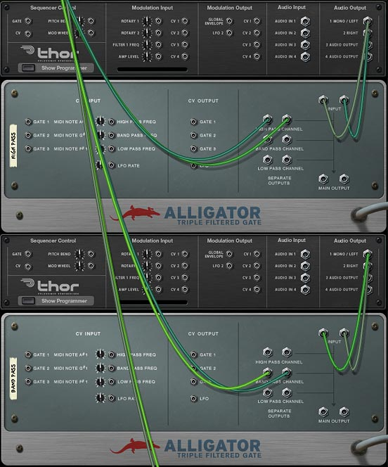 Showing different audio sources processed by different alligator channels to achieve an interesting result.