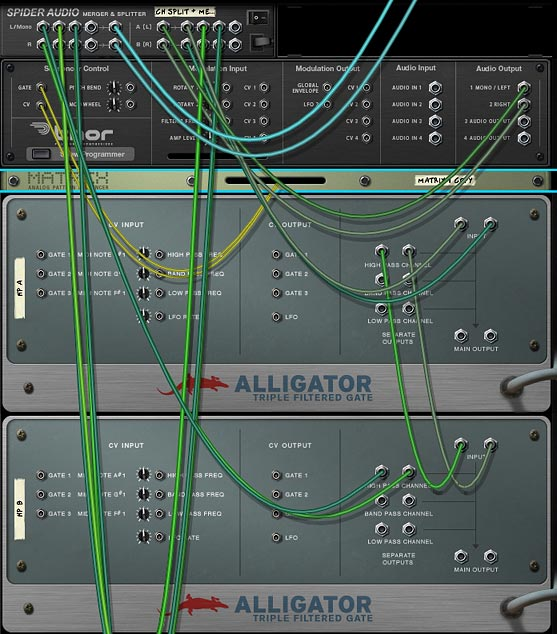Processing your audio source through multiple Alligator Channels. This shows the High Pass Channel in series. But you can do the same with other Alligator channels.