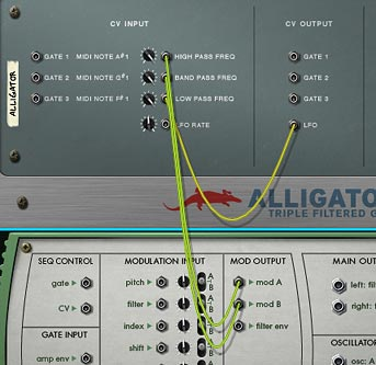 Showing the Malstrom's 2 Mod A/B waves and the Alligator's LFO to provide movement to the Alligator's 3 filters.