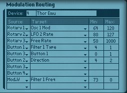 The Combinator Modulation Routing settings for the Thor chiptune Emulator.
