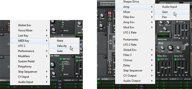 The Source (MIDI Key > Velocity) and Destination (Amp > Gain) settings in the MBRS row
