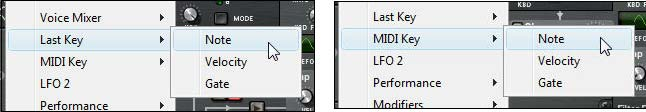 "The ""Last Key"" and ""MIDI Key"" Note parameters in Thor's source submenu (global section)."
