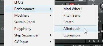 The Performance > Aftertouch setting in Thor's MBRS source submenu