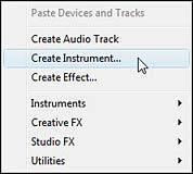 "Right-clicking on the rack and selecting ""Create Instrument"" or ""Create Effect"""