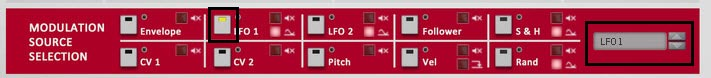 The Modulation Source Selection (middle) area of Etch Red. Note that the LFO1 selector is yellow. You can select a source by pressing these square icons, or by clicking from the drop-down list (both are shown here with a black square border).