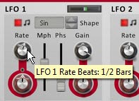 Setting the LFO1 Rate to 1/2 Bars in the Source (bottom) section of the device
