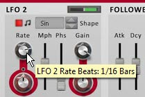 Setting the LFO2 Rate to 1/16 Bars in the Source (bottom) section of the device
