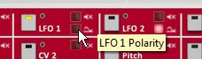 Setting the Polarity of LFO1 to Unipolar by turning the LED off. This ensures the LFO travels both negatively and positively to affect the destination parameter.