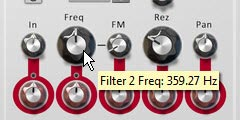 Setting the Filter 2 Frequency to around 350 Hz and the Resolution (Rez) to about 25%.