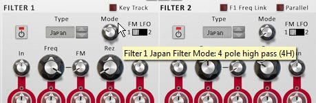 Setting Filter 1 Mode to a 4-Pole High Pass Filter.