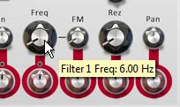 Setting the Filter 1 Frequency to 6 Hz.