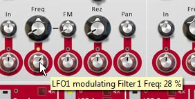Adjusting the Modulation of the Filter 1 Frequency.