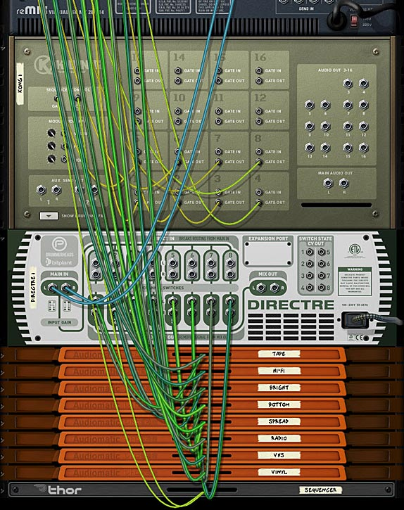 The back of the rack showing the routings between the Mixer, Kong, Directre and the Audiomatic devices.