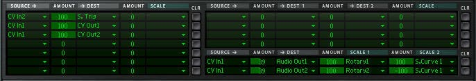 The settings for the Modulation Bus Routing Section in Thor.
